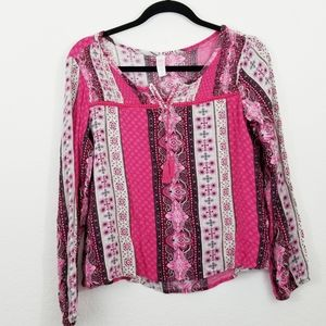 Justice Girls Pink Peasant Boho Top with Tassels